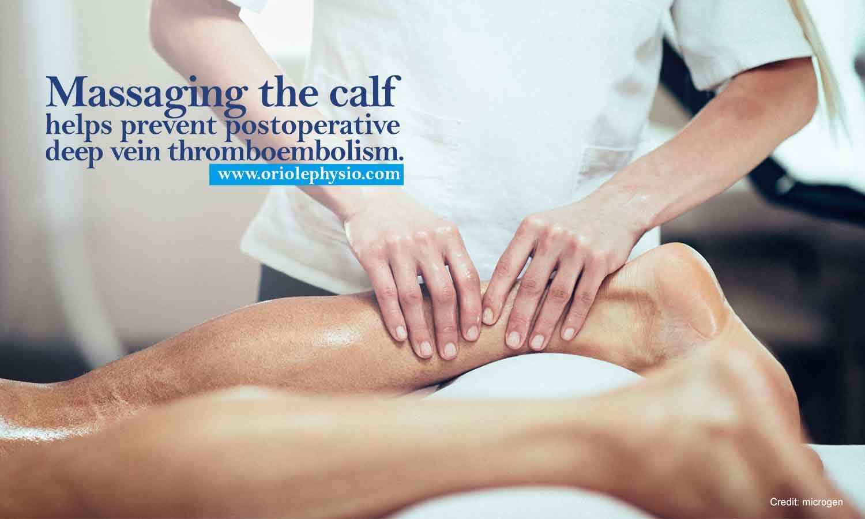 Massaging the calf helps prevent postoperative deep vein thromboembolism.