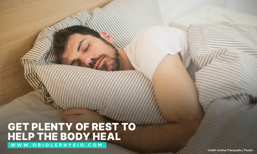 [CAPTION]: Get plenty of rest to help the body heal