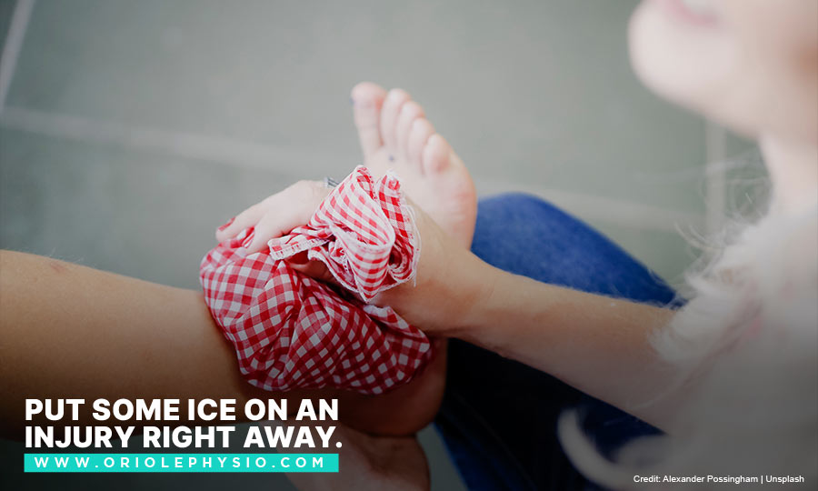 Put some ice on an injury right away.
